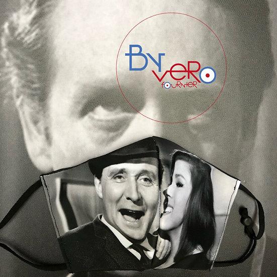 Masque tissu imprimé couple John Steed / Diana Rigg Noir et Blanc