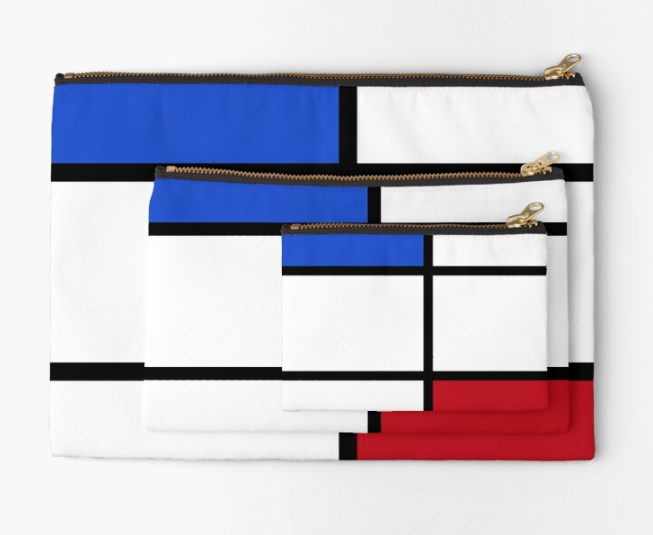 pochette bleu/blanc/rouge inspiration Mondrian