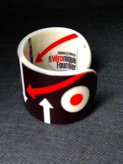 bracelet manchette cocarde noir/orange
