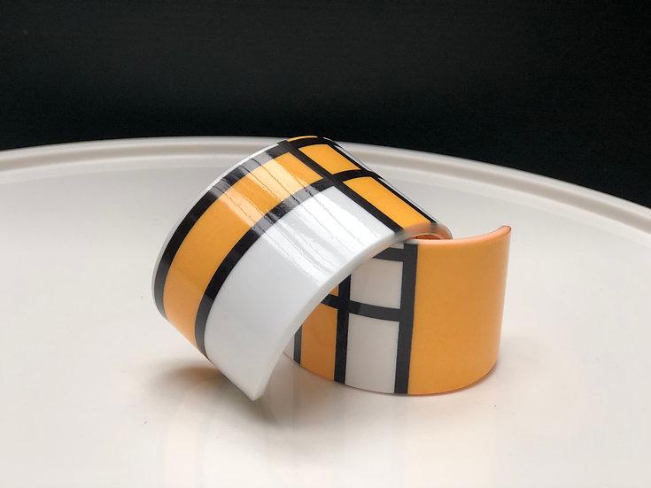 bracelet graphique jaune inspiration Mondrian