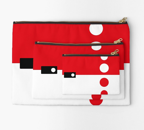 pochette sixties pois rouges/blancs
