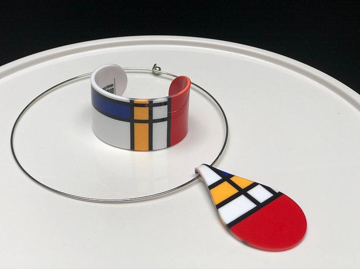 pendentif inspiration Mondrian (Taille S)