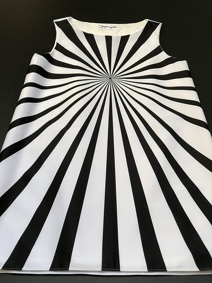 robe Op Art Soleil levant Black & White