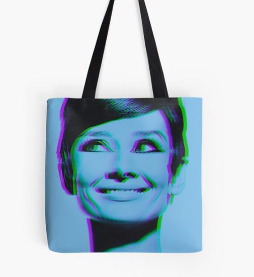 sac Audrey Hepburn in blue 3D color effect