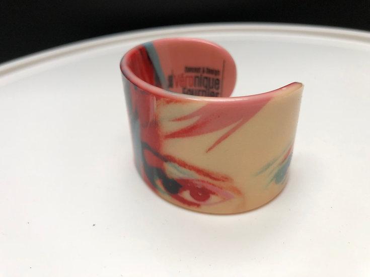 """bracelet """"Blondie""""/Debbie Harry 3D rose/rouge"""