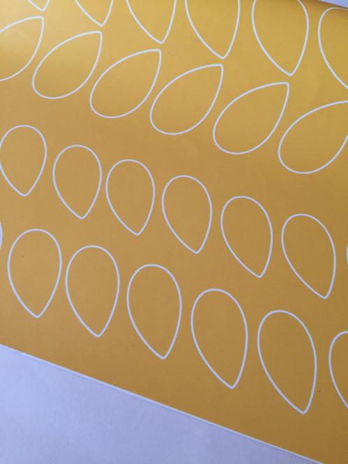 Papier Peint Retro Vintage Petales Fond Jaune Moutarde Inspiration