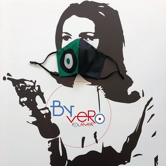Masque tissu design graphique cible vert/noir/blanc