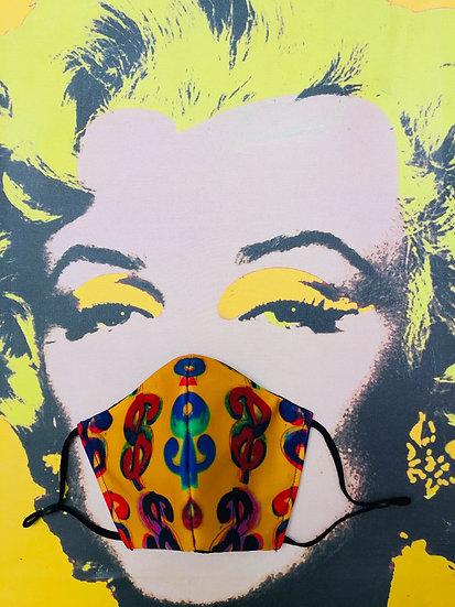 Masque tissu imprimé $$$ façon Andy Warhol