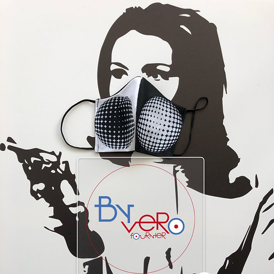 Masque tissu design graphique /geometric Art/ OpArt inspiration VasarelY v2