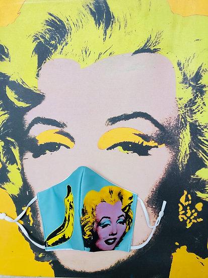 Masque tissu imprimé Marilyne / banane façon Andy Warhol fond vert d'eau