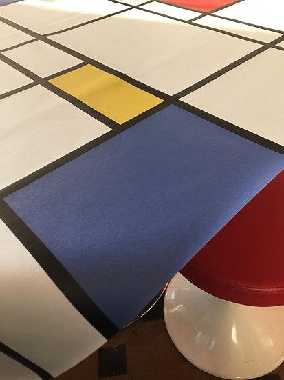 Toile/nappe cirée motif Mondrian