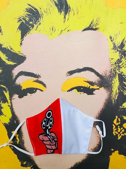 Masque tissu imprimé pistolet façon Roy Lichtenstein / Pop Art