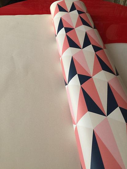 Papier peint rétro/vintage motif géométrique roses/gris/bleu nuit