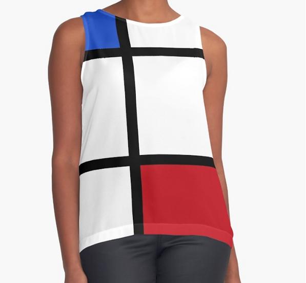top sans manche/débardeur imprimé inspiration Mondrian dos blanc