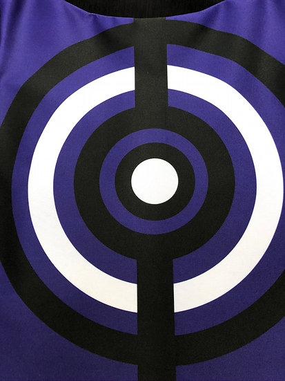 robe Op Art cible violet/blanc/noir