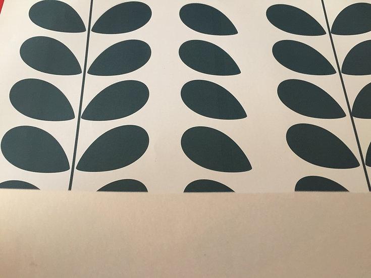 Papier peint rétro/vintage pétales bleu canard inspiration Orla Kiely