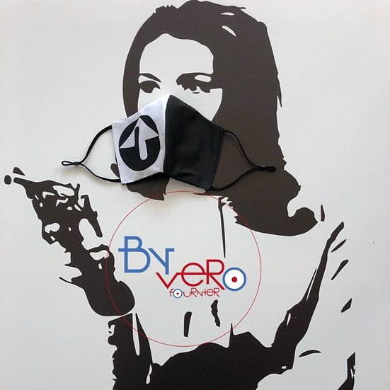Masque tissu design graphique hommage à Jacques Tissinier version noire