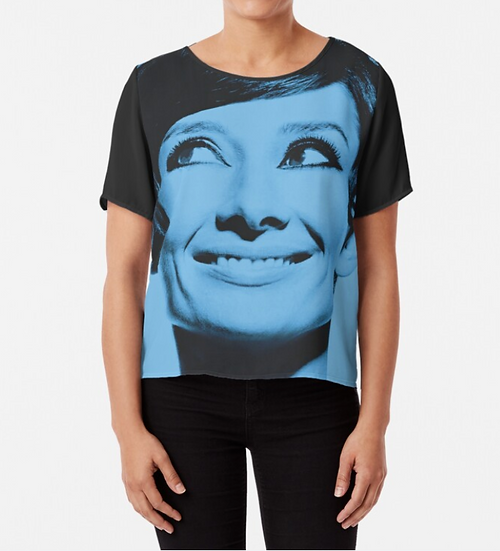 Top/Tshirt mousseline imprimé Audrey in blue - dos/manches noires