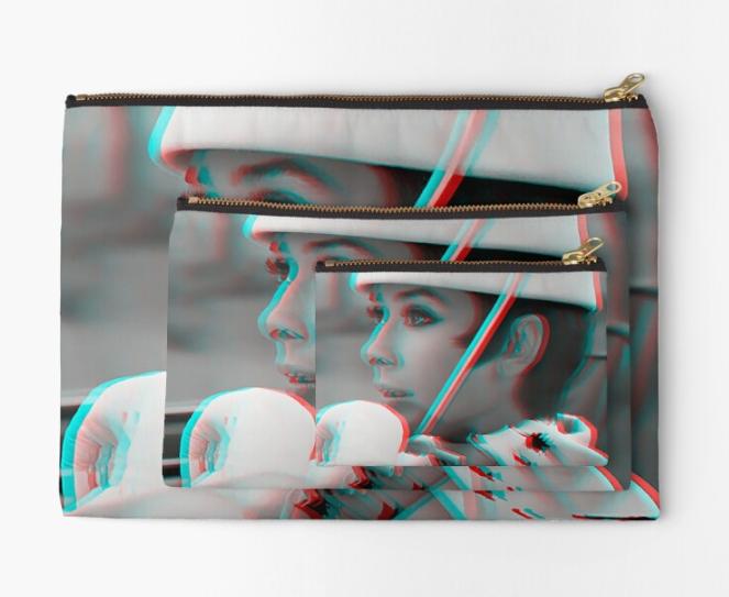 pochette Audrey Hepburn façon Courrèges 3D