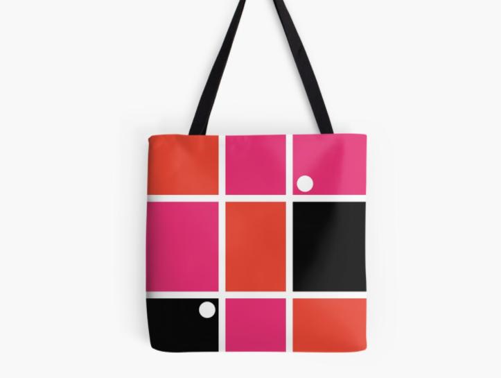 Sac inspiration mondrian rose/orange/blanc/noir