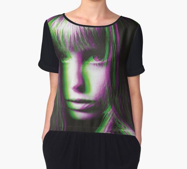 Top/Tshirt mousseline imprimé Jane dos/manches noires
