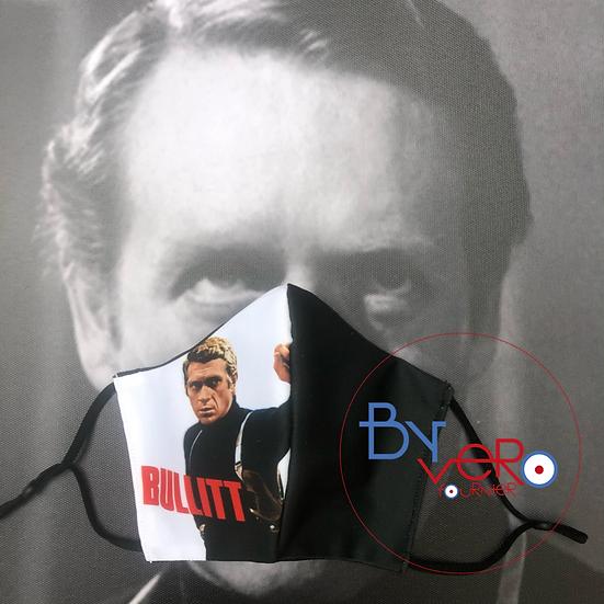 Masque tissu imprimé Steeve McQueen Bullitt