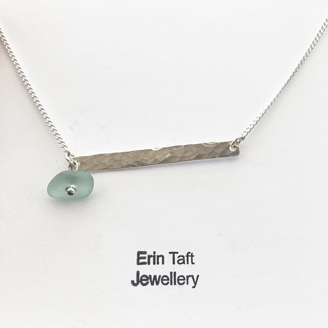 Silver bar necklace with sea glass detail #jewellery #jewellerymaker #handmade #mamaboss #madeathome