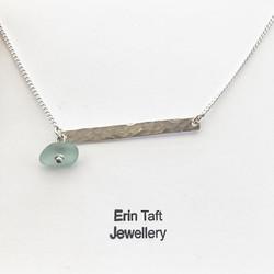 Silver bar necklace with sea glass detail #jewellery #jewellerymaker #handmade #mamaboss #madeathome