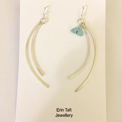 Sea glass and ammonite earrings #jewellerymaker #handmade #earrings #silversmith #seaglass
