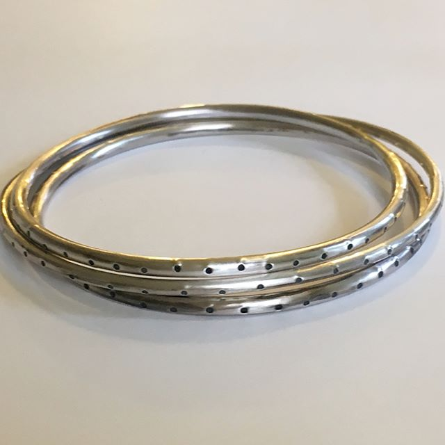 Dot dot bangle #bangle #silver #Jewellery #handmade
