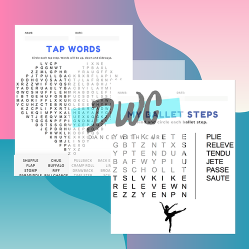 Ballet and Tap Crossword Puzzles - 4 Pack Worksheets