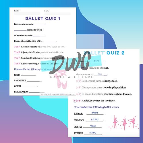 Beginner Ballet Quiz Pack - 5 Quiz & 5 Answer Sheets