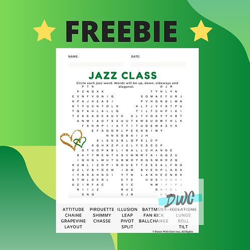 FREEBIE Jazz Word Search - Sample - Use code LUCKY