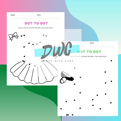 Dot To Dot Dance Worksheets - 3 PACK for Kids