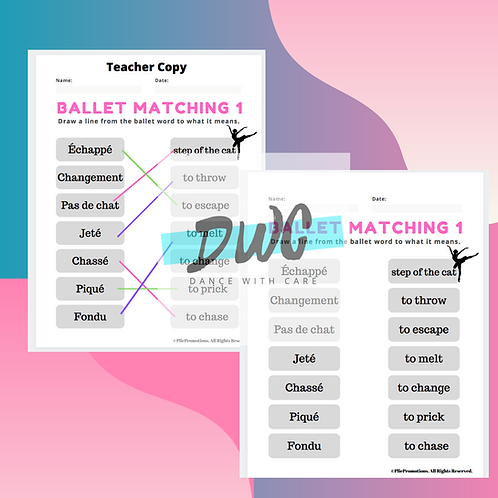 Ballet Matching Vocabulary Worksheets - 6 Pack Worksheets