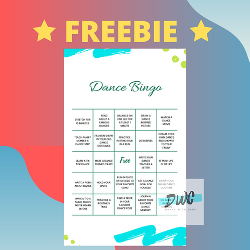 "FREEBIE Dance Bingo Card - March 2020 - Enter code ""BINGO"" at checkout"
