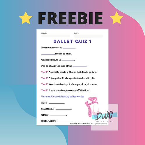 FREEBIE Ballet Quiz - Sample - Level 1