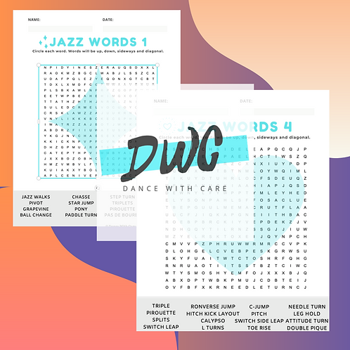 Jazz Word Searches - 4 Pack - Dance World Searches, Jazz