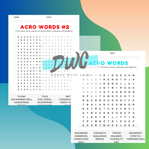 Acro Word Searches - 3 Pack - Dance Word Searches, Acro