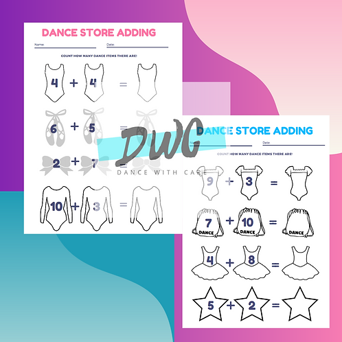 Dance Store Adding Dance Worksheets - 3 PACK for Kids