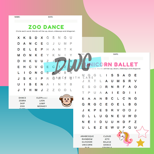 Dance Themed Word Searches - Zoo Dance, Mermaid Show, Unicorn Ballet, Etc.