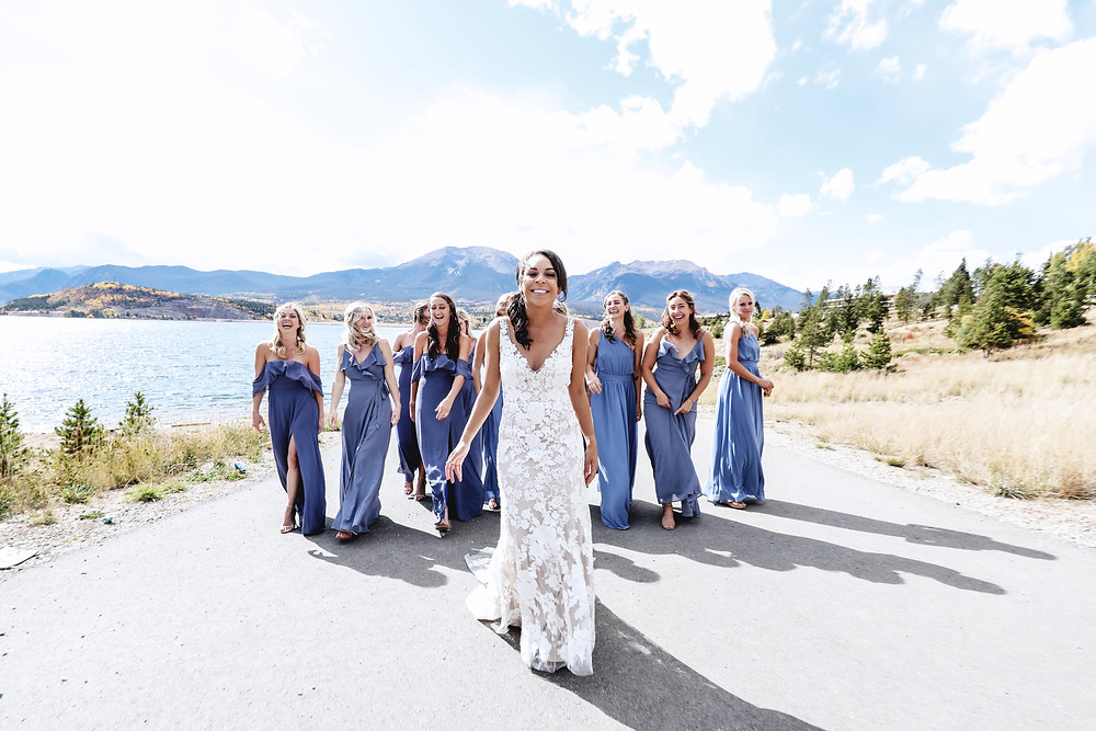 Bride with Bridesmaids Colorado Mountain Wedding Dillon Pavilion