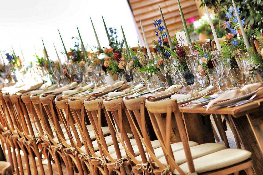 Feasting table with x-back chairs
