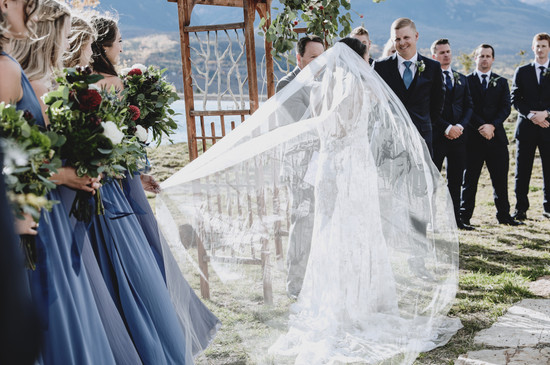 veil blowing colorado bride