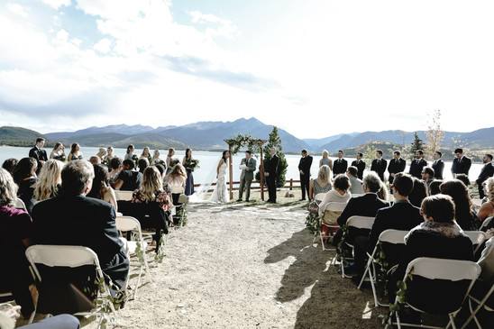 mountain wedding ceremony lake