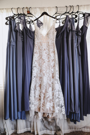 Bride and Bridesmaids Dresses hanging Colorado
