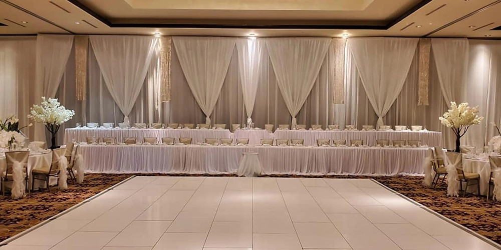 Double Rowed Head Table Grand Junction wedding, full draping