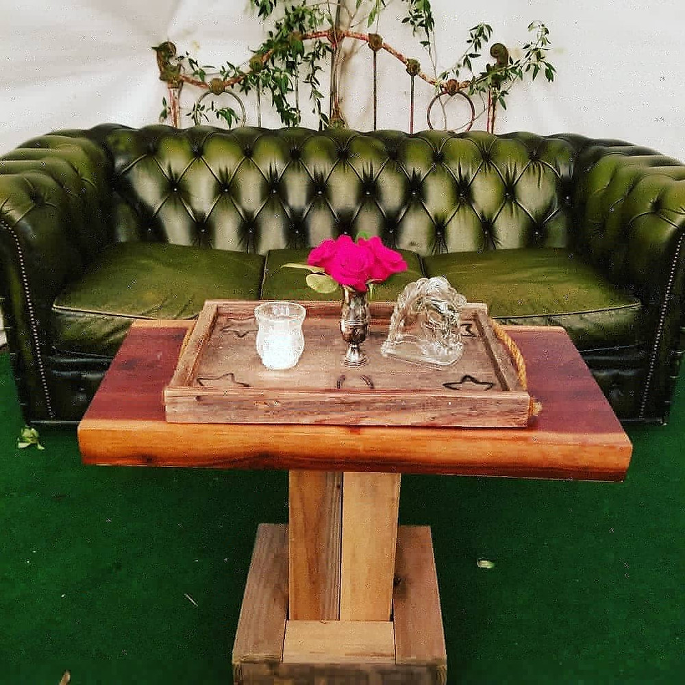 Bees Vintage Party Rentals, wedding lounge green couch wood table, colorado wedding