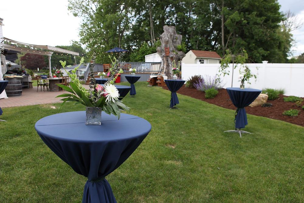 cocktail tables, center piece, flowers, colorado wedding planner