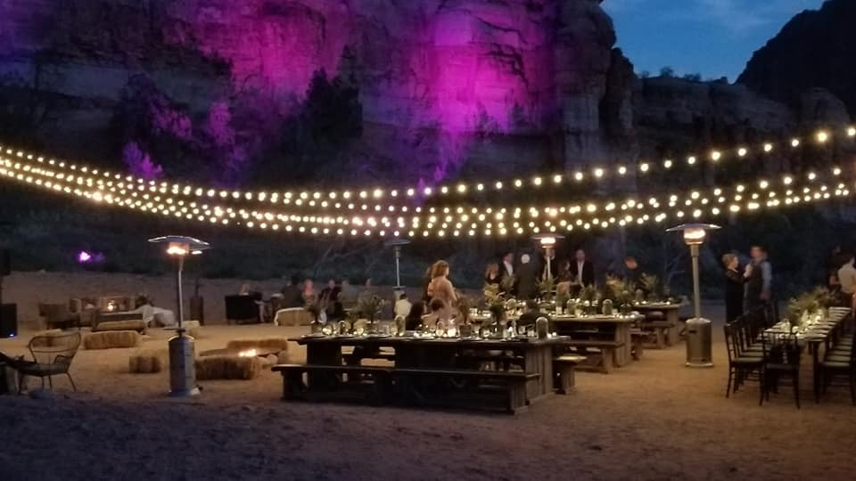 Barnwood Dinner tables at Gateway Canyon, Colorado Wedding